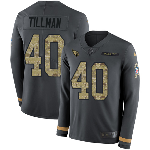 Nike Cardinals #40 Pat Tillman Anthracite Salute to Service Men's Stitched NFL Limited Therma Long Sleeve Jersey