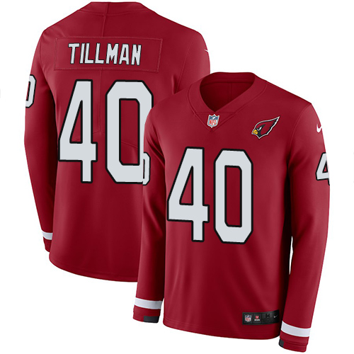 Nike Cardinals #40 Pat Tillman Red Team Color Men's Stitched jerseysclub.net NFL Limited Therma Long Sleeve Jersey