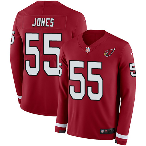 Nike Cardinals #55 Chandler Jones Red Team Color Men's Stitched NFL Limited Therma Long Sleeve Jersey