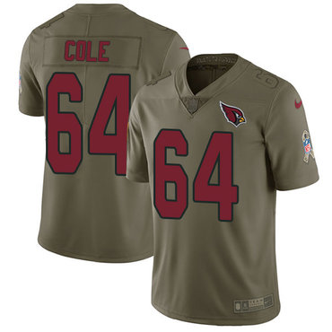 Nike Cardinals #64 Mason Cole Olive Men's Stitched NFL Limited 2017 Salute to Service Jersey