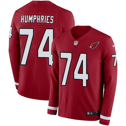 Nike Cardinals #74 D.J. Humphries Red Team Color Men's Stitched NFL Limited Therma Long Sleeve Jersey