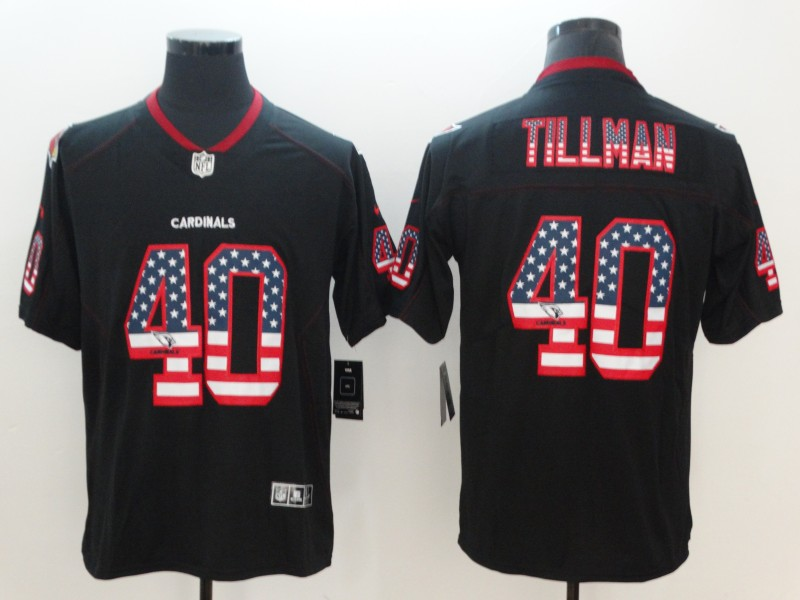 Nike Cardinals 40 Pat Tillman Black USA Flag Fashion Color Rush Limited Jersey