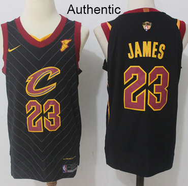Nike Cavaliers #23 LeBron James Black The Finals Patch NBA Authentic Statement Edition Jersey