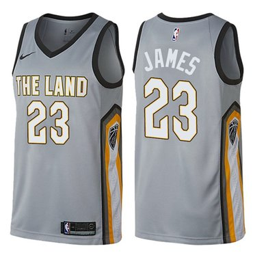 Nike Cavaliers #23 LeBron James Gray NBA Swingman City Edition Jersey