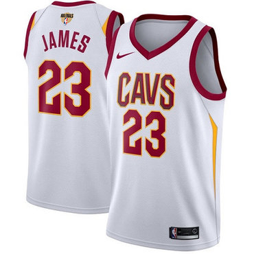 Nike Cavaliers #23 LeBron James White The Finals Patch NBA Swingman Association Edition Jersey