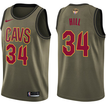 Nike Cavaliers #34 Tyrone Hill Green Salute to Service The Finals Patch NBA Swingman Jersey