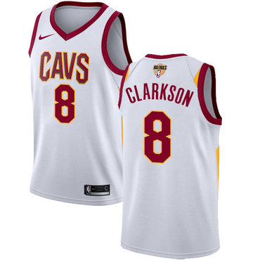 Nike Cavaliers #8 Jordan Clarkson White The Finals Patch NBA Swingman Association Edition Jersey