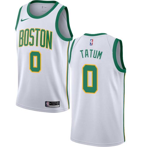 Nike Celtics #0 Jayson Tatum White NBA Swingman City Edition 2018 19 Jersey