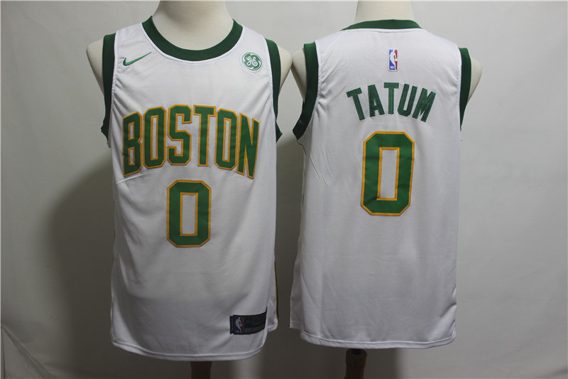 Nike Celtics 0 Jayson Tatum White 2018-19 City Edition Nike Swingman Jersey