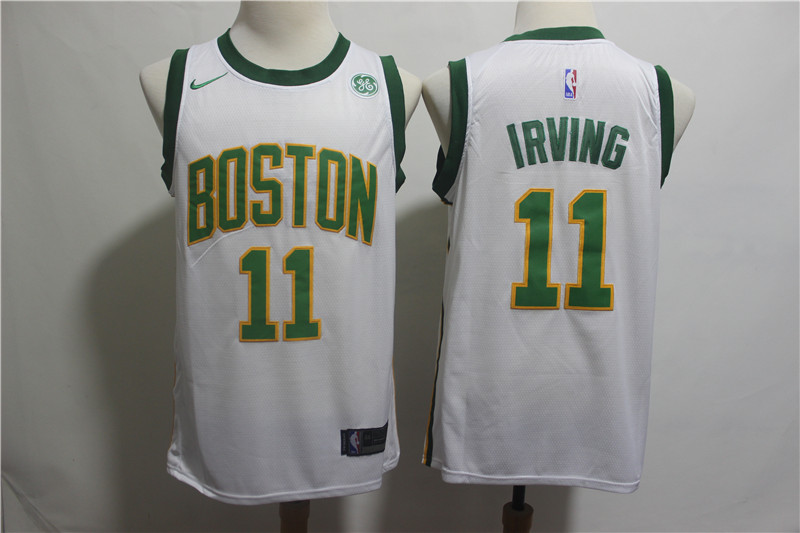 Nike Celtics 11 Kyrie Irving White 2018-19 City Edition Nike Swingman Jersey