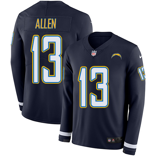 Nike Chargers #13 Keenan Allen Navy Blue Team Color Men's Stitched NFL Limited Therma Long Sleeve Jersey