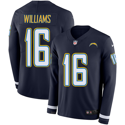 Nike Chargers #16 Tyrell Williams Navy Blue Team Color Men's Stitched NFL Limited Therma Long Sleeve Jersey