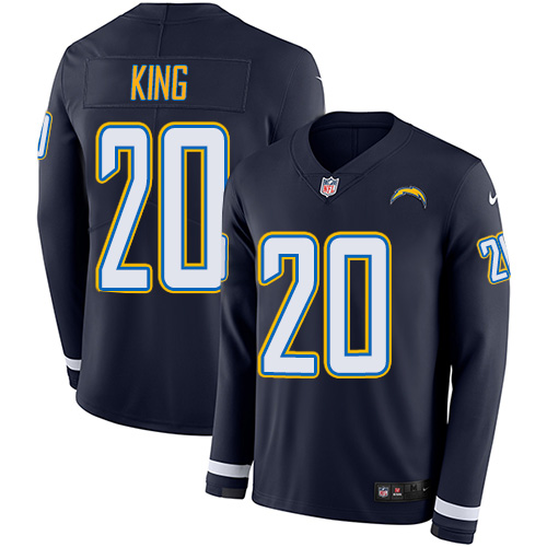 Nike Chargers #20 Desmond King Navy Blue Team Color Men's Stitched NFL Limited Therma Long Sleeve Jersey