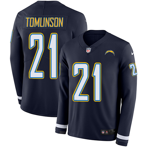 Nike Chargers #21 LaDainian Tomlinson Navy Blue Team Color Men's Stitched NFL Limited Therma Long Sleeve Jersey