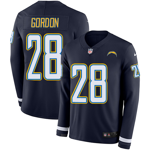 Nike Chargers #28 Melvin Gordon Navy Blue Team Color Men's Stitched NFL Limited Therma Long Sleeve Jersey
