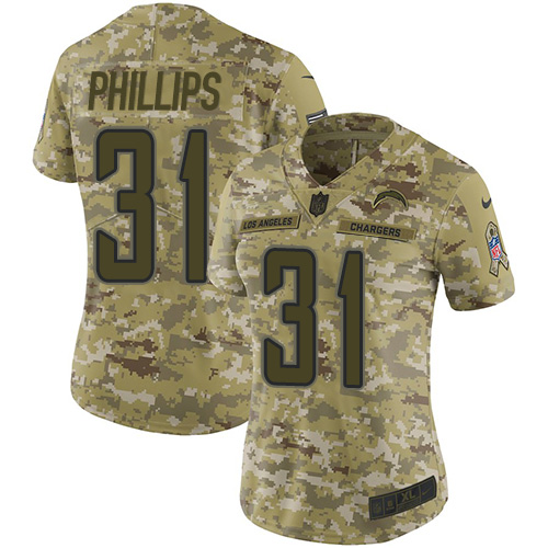 Nike Chargers #31 Adrian Phillips Camo Women's Stitched NFL Limited 2018 Salute to Service Jersey