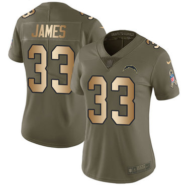 Nike Chargers #33 Derwin James Olive Gold Women's Stitched NFL Limited 2017 Salute to Service Jersey