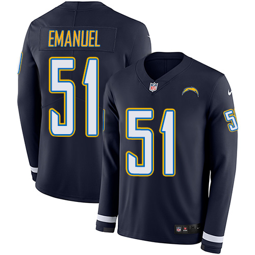Nike Chargers #51 Kyle Emanuel Navy Blue Team Color Men's Stitched NFL Limited Therma Long Sleeve Jersey