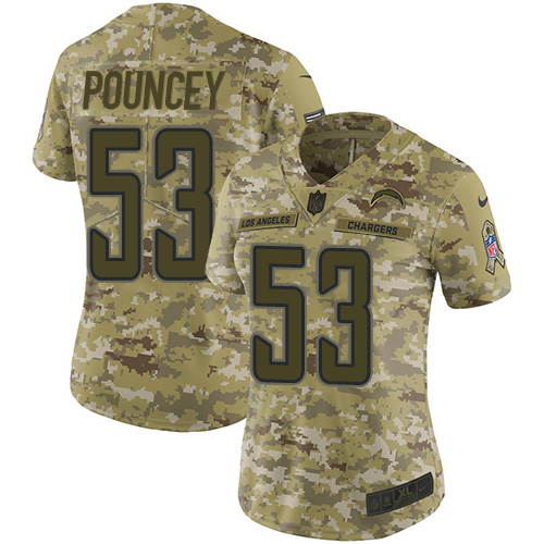 Nike Chargers #53 Mike Pouncey Camo Women's Stitched NFL Limited 2018 Salute to Service Jersey