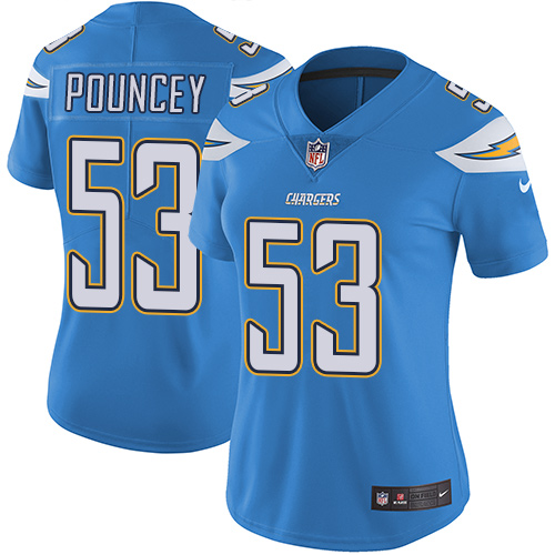 Nike Chargers #53 Mike Pouncey Electric Blue Alternate Women's Stitched NFL Vapor Untouchable Limited Jersey