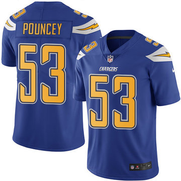 Nike Chargers #53 Mike Pouncey Electric Blue Men's Stitched NFL Limited Rush Jersey