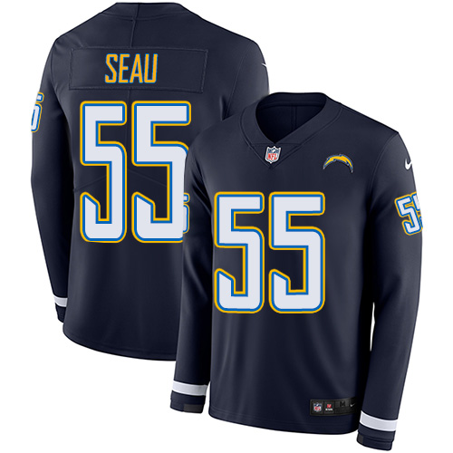 Nike Chargers #55 Junior Seau Navy Blue Team Color Men's Stitched NFL Limited Therma Long Sleeve Jersey