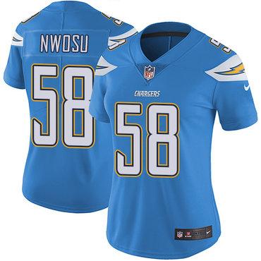 Nike Chargers #58 Uchenna Nwosu Electric Blue Alternate Women's Stitched NFL Vapor Untouchable Limited Jersey