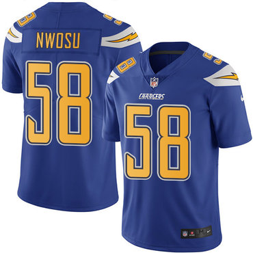 Nike Chargers #58 Uchenna Nwosu Electric Blue Youth Stitched NFL Limited Rush Jersey