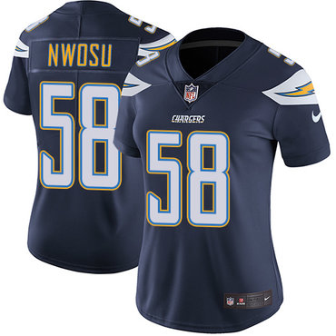 Nike Chargers #58 Uchenna Nwosu Navy Blue Team Color Women's Stitched NFL Vapor Untouchable Limited Jersey