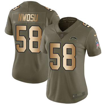 Nike Chargers #58 Uchenna Nwosu Olive Gold Women's Stitched NFL Limited 2017 Salute to Service Jersey