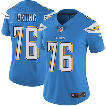 Nike Chargers #76 Russell Okung Electric Blue Alternate Women's Stitched NFL Vapor Untouchable Limited Jersey