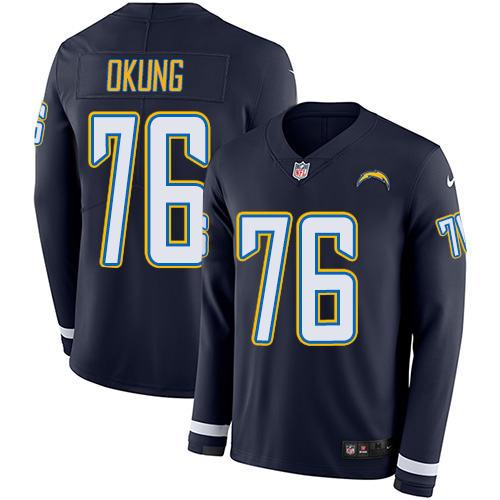 Nike Chargers #76 Russell Okung Navy Blue Team Color Men's Stitched NFL Limited Therma Long Sleeve Jersey