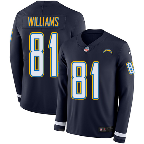 Nike Chargers #81 Mike Williams Navy Blue Team Color Men's Stitched NFL Limited Therma Long Sleeve Jersey