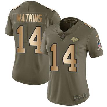 Nike Chiefs #14 Sammy Watkins Olive Gold Women's Stitched NFL Limited 2017 Salute to Service Jersey