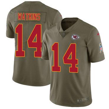 Nike Chiefs #14 Sammy Watkins Olive Youth Stitched NFL Limited 2017 Salute to Service Jersey