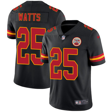 Nike Chiefs #25 Armani Watts Black Men's Stitched NFL Limited Rush Jersey