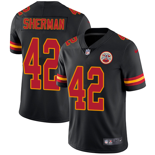 Nike Chiefs #42 Anthony Sherman Black Men's Stitched NFL Limited Rush Jersey