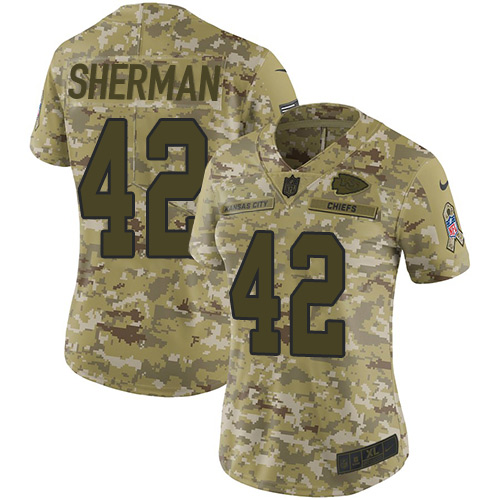 Nike Chiefs #42 Anthony Sherman Camo Women's Stitched NFL Limited 2018 Salute to Service Jersey