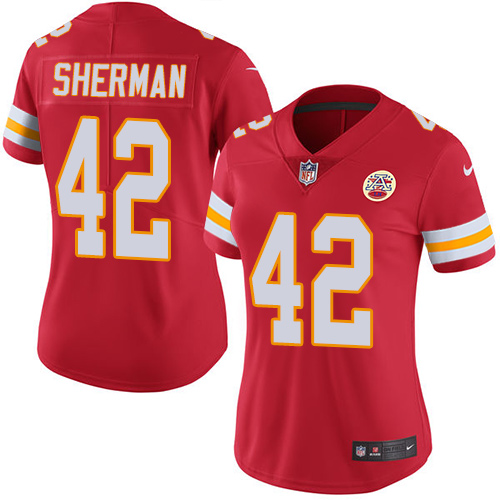Nike Chiefs #42 Anthony Sherman Red Team Color Women's Stitched NFL Vapor Untouchable Limited Jersey