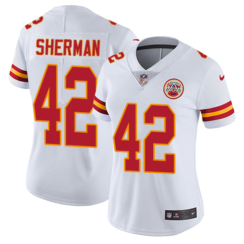 Nike Chiefs #42 Anthony Sherman White Women's Stitched NFL Vapor Untouchable Limited Jersey