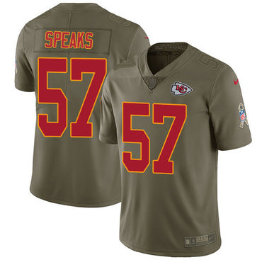 Nike Chiefs #57 Breeland Speaks Olive Youth Stitched NFL Limited 2017 Salute to Service Jersey