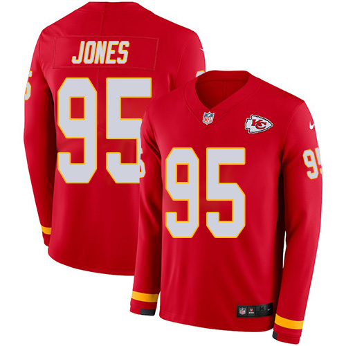 Nike Chiefs #95 Chris Jones Red Team Color Men's Stitched NFL Limited Therma Long Sleeve Jersey