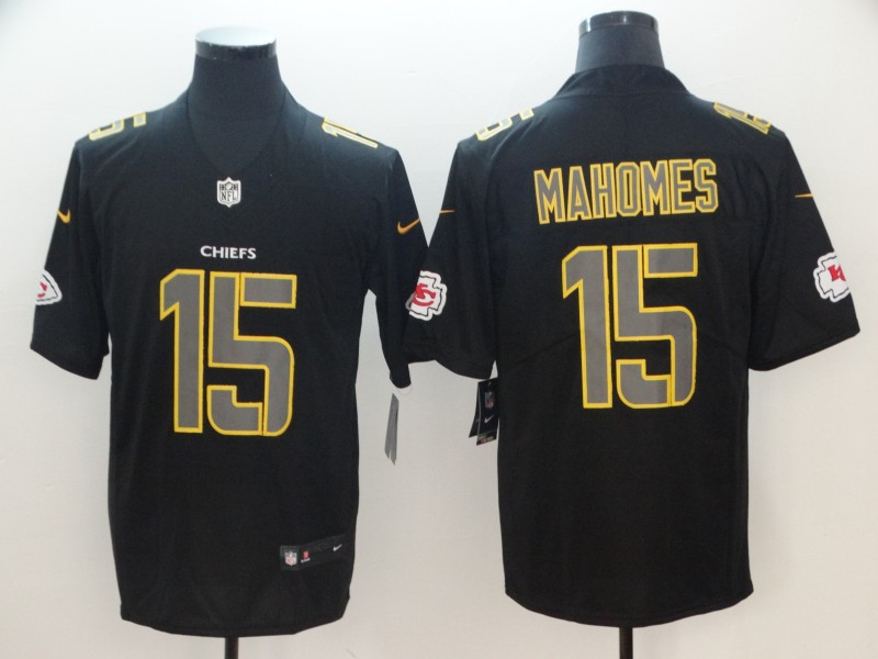 Nike Chiefs 15 Patrick Mahomes Black Impact Rush Limited Jersey