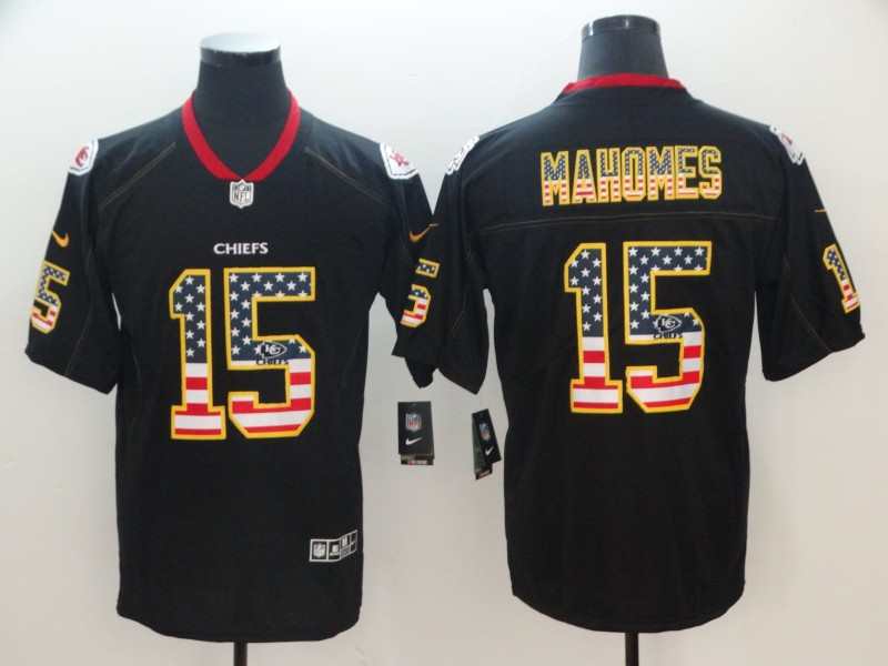 Nike Chiefs 15 Patrick Mahomes Black USA Flag Fashion Limited Jersey