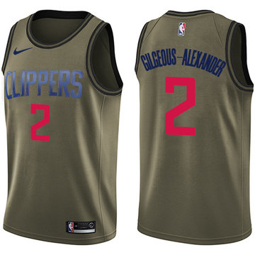 Nike Clippers #2 Shai Gilgeous-Alexander Green NBA Swingman Salute to Service Jersey