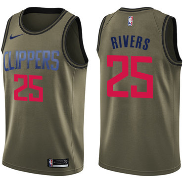 Nike Clippers #25 Austin Rivers Green Salute to Service NBA Swingman Jersey