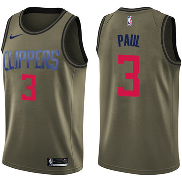 Nike Clippers #3 Chris Paul Green Salute to Service NBA Swingman Jersey