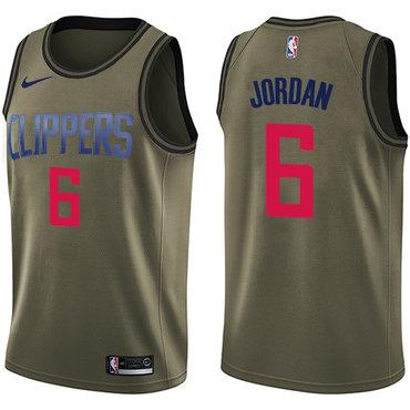Nike Clippers #6 DeAndre Jordan Green Salute to Service NBA Swingman Jersey