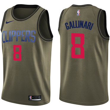 Nike Clippers #8 Danilo Gallinari Green Salute to Service NBA Swingman Jersey