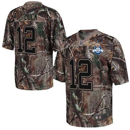 Nike Colts #12 Andrew Luck Camo With 30TH Seasons Patch Men's Stitched NFL Realtree Elite Jersey